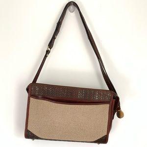 BRAHMIN Embossed Woven Leather Linen Vintage Bag